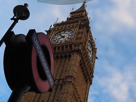 Building, England, Big Ben, Clock, Sky, Underground