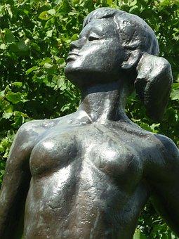 Bronze Sculpture, Boy, Woman, Attractive, Free