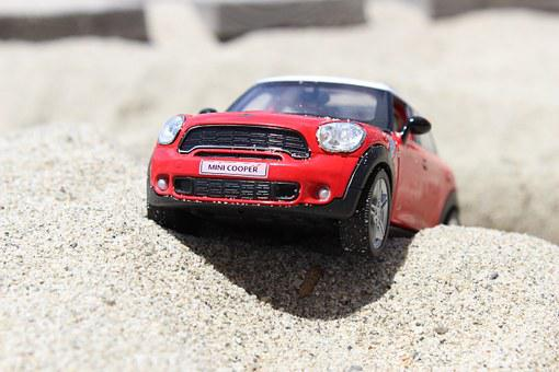 Toy, Car, Mini Cooper, Beach, Mini