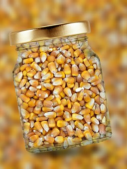 Corn, Glass, Lid, Corn Kernels