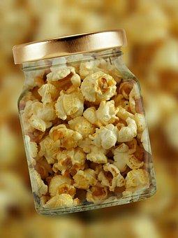 Popcorn, Glass, Lid, Corn, Corn Kernels