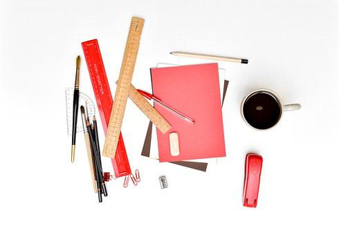 Desk, Stationery, Office, Messy, Rulers, Paper, Pens