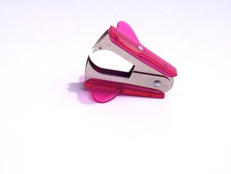 Staple Remover, Pink, Office, Stationery, Desk, Tool