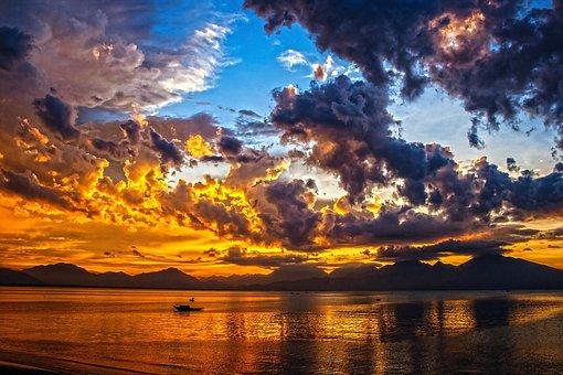 Boat, Sundown, Sunset, Sky, Clouds, Da Nang Bay