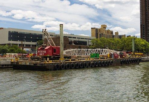 Dock, Barge, River, Industrial, Boat, Transportation