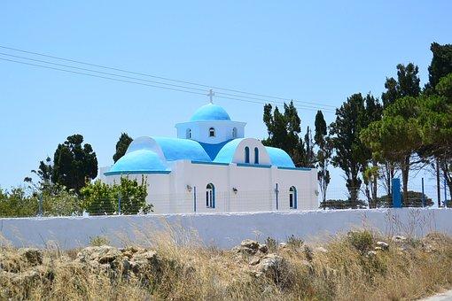Greek Church, Blue, Domed Roof, Orthodoxy