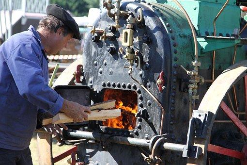 Former, Wood, Worker, Stove, Fire, Locomotive