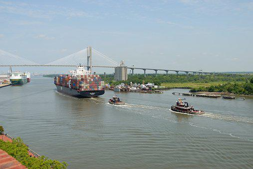 Cargo Ship, Freighter, Savannah, Georgia, River, Ship