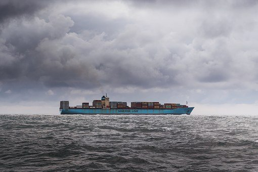 Container, Ship, Sky, Clouds, Dark, Weather, Raining