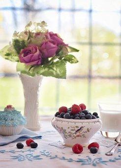 Blueberries, Raspberries In Bowl, Summer, Breakfast