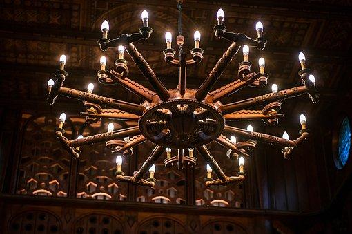 Chandelier, Candlestick, Stave Church, Church, Lamp