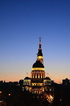 Cathedral, Evening, Church, Sunset, Blue Sky, Sky