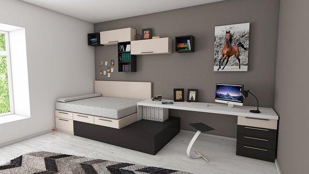 Apartment, Bed, Bedroom, Book Shelve, Books, Carpet