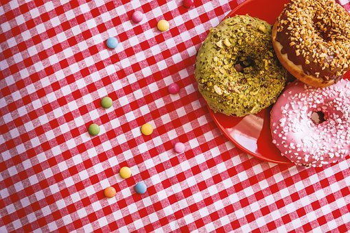 Red, Table, Cloth, Doughnut, Sweets, Desserts, Food