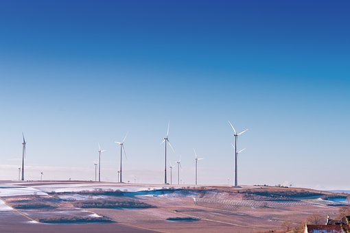 Windmill, Field, Farm, Solar, Energy, Mountain