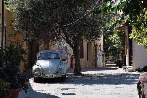Crete, Chania, Greece, Olive Tree, Beetle, Oldtimer