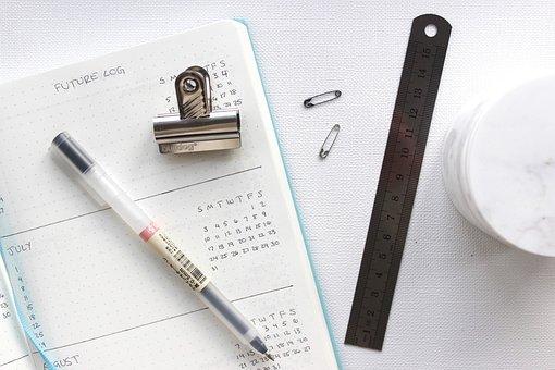 Calendar, Pen, Paper, Clip, Ruler, White, Table, Work