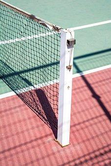 Tennis, Court, Sport, Field, Net, Sunny