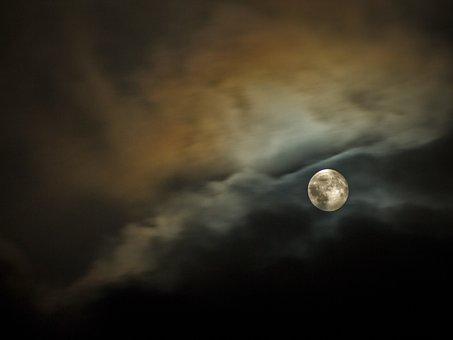 Full Moon, Light, Dark, Night, Clouds