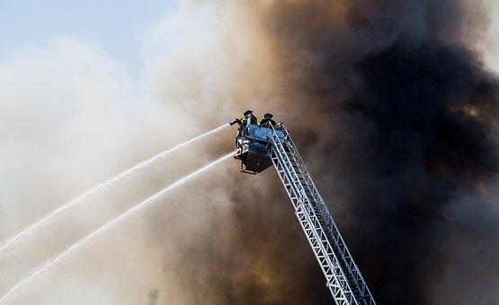 Firemen, Crane, Water, Spray, Dark