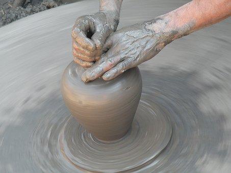 Clay, Hands, Work, Craft, Potter