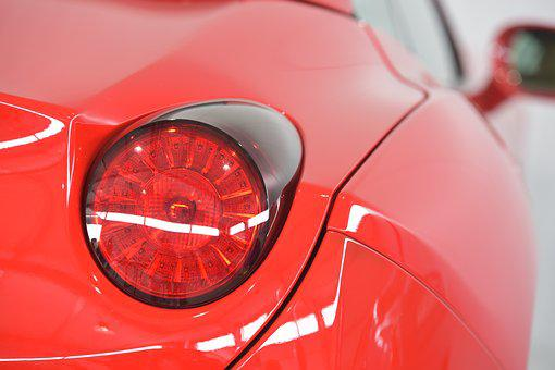 Ferrari, Sports Car, Back Light, Auto, Red, Power