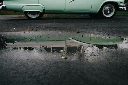 Vintage, Car, Wheel, Road, Water, Reflection, Street