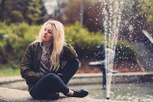 People, Girl, Woman, Sitting, Alone, Waiting, Water