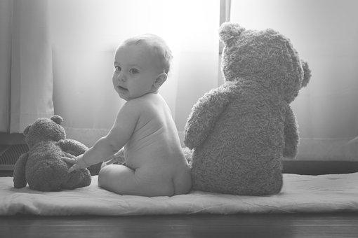 Bed, Room, Stuff Toy, Teddy Bear, Black And White, Baby