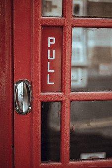 Red, Door, Telephone, Booth