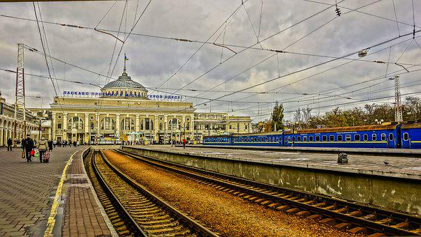 Odessa, Station, Train, Rails, Wire, People, Clouds