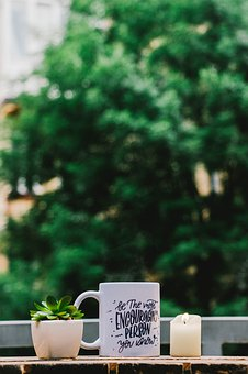 Coffee, Hot, Drink, Relax, Candle, Light, Plant