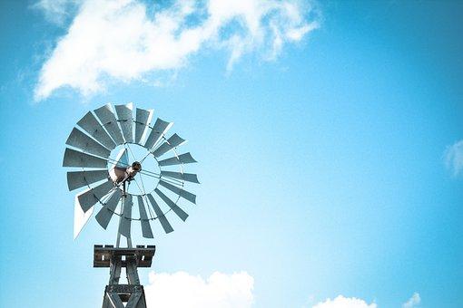Windmill, Solar, Power, Energy, Blue, Sky, Clouds