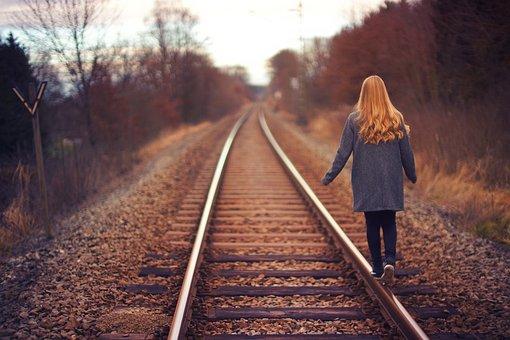 Railway, Track, Outdoor, Travel, Trees, Plants, People