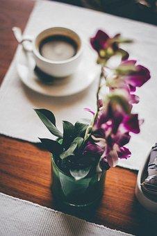 Dining, Table, Coffee, Blur, Flower, Vase, Display