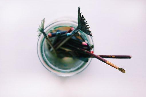 Glass, Jar, Water, Paint