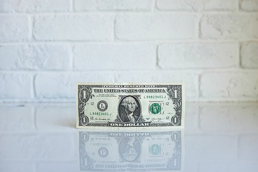 Dollar, Money, Bill, Reflection, White, Wall, Currency