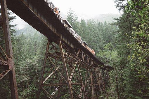Metal, Steel, Architecture, Bridge, Train
