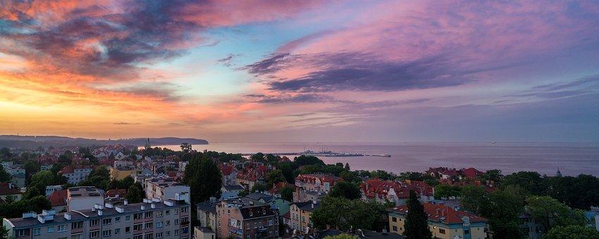 Sunset, Sopot, Background, Molo, City, Sky, Sea, Poland