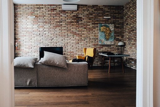 House, Interior, Couch, Sofa, Living, Room, Brick