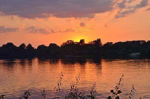 Sunset On The River, Clouds, Water, Silence, Nature
