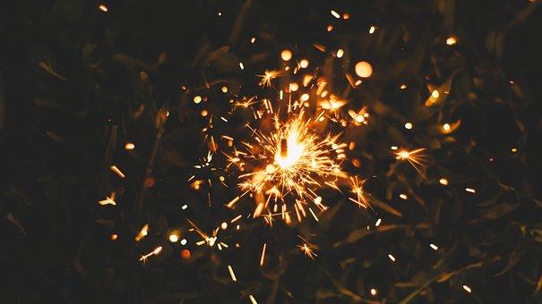 Fire, Flames, Sparkler, Sparks, Light