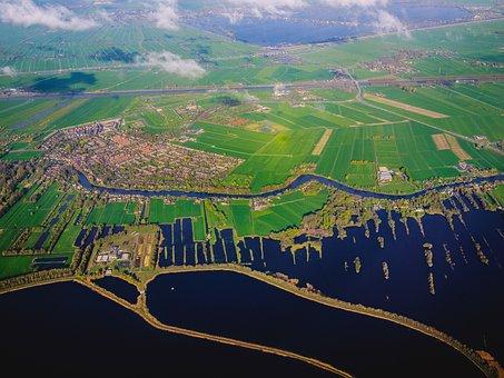 Green, Grass, Field, Farm, Aerial, View, Sea, Ocean