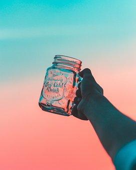 Sky, Sunset, Hand, Arm, Glass, Jar, String