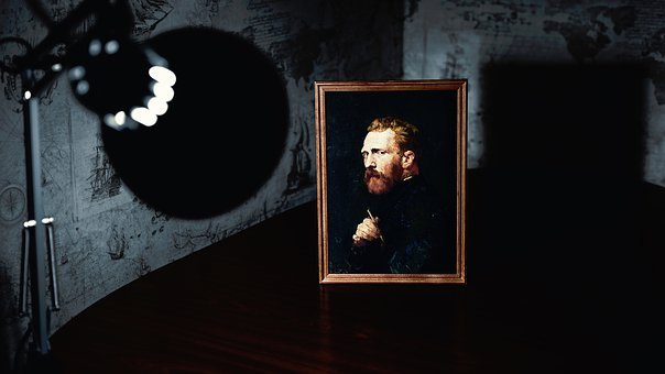 Lamp, Light, Spotlight, Art, Picture, Frame, Vincent