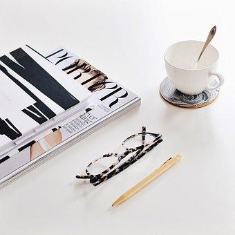 Books, Magazine, Pen, Eyeglasses, Coffee, Break, Work