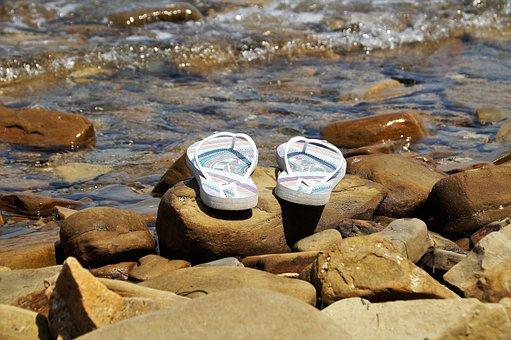 Flip Flops, Flips Flops, Rocky Beach, Surf, Sea, Summer