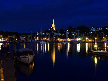 Night Photograph, City, Flensburg, Homes, Port, Sea