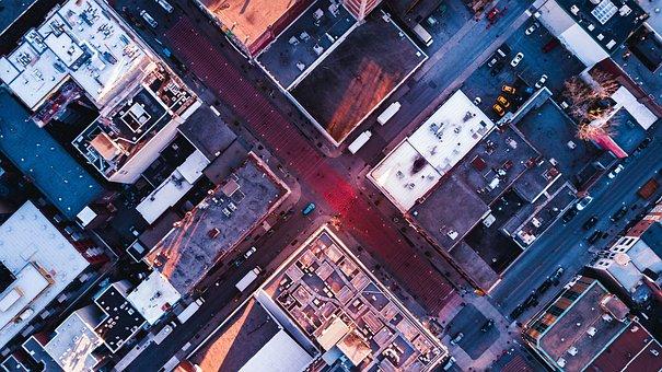 Aerial, Top, View, Road, Street, Buildings, Cars