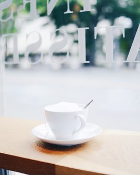 White, Cup, Saucer, Tea, Hot, Drink, Table, Coffeehouse
